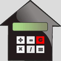 Schemat przedstawiający dom z kalkulatorem